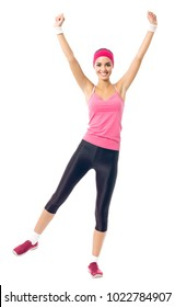 Young happy woman in red sportswear doing fitness exercise, isolated on white