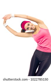 Young happy woman in red sportswear doing fitness exercises, isolated on white