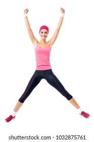 Young happy woman in red sportswear doing fitness exercises, isolated against white background