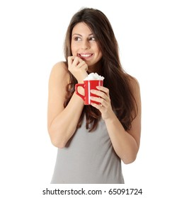 Young happy woman with lot of sugar