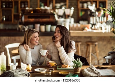 Young happy women talking and laughing while drinking coffee together in coffee shop.