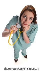 Young health care provider with stethoscope seen from high angle isolated over white
