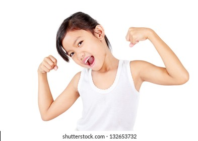 Young healthy girl flexing her muscles.Isolated in white background.