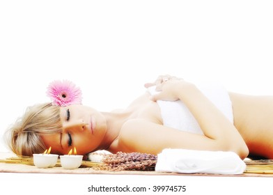 young healthy woman in wellness and spa studio have Massage