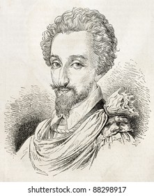 Young Henry IV old engraved portrait. Created by Valentin, published on L'Illustration, Journal Universel, Paris, 1860