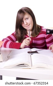Young high school student studying for exams