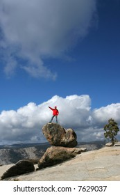 Young hiker enjoying the view in Yosemite
