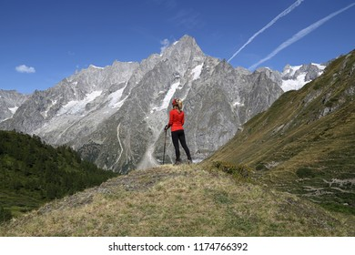 Young hiker woman in Val Ferret, Courmayeur