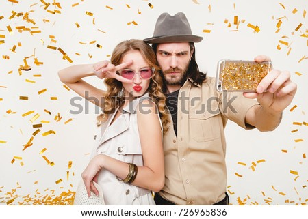 6ed72de92a5 Young Hipster Couple Posing Together On Stock Photo (Edit Now ...