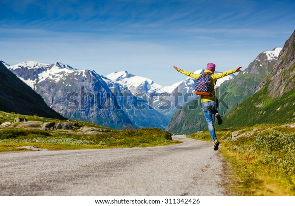 young hipster female traveler enjoy the travel. Adventure is coming...