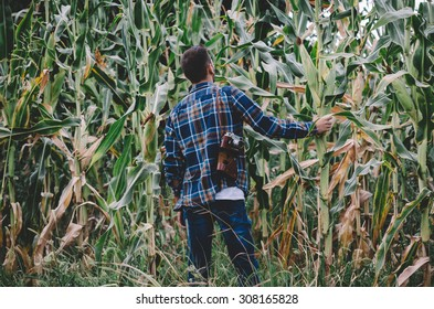 Young hipster man with vintage camera in a corn filed. Vintage retro style effect, soft focus, low light, grain texture visible on maximum size. Horizontal
