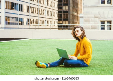 Young Hispanic American College Student Studying in New York, with brown curly hair, wearing glasses, yellow long sleeve T shirt, jeans, sneakers, sitting on green lawn, working on laptop computer.