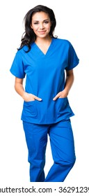 Young Hispanic doctor nurse in scrubs isolated on white background