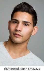 Young hispanic man closeup headshot