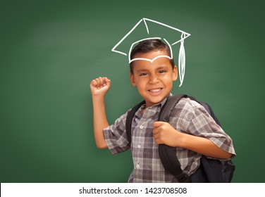 Young Hispanic Student Boy Wearing Backpack Front Of Balckboard with Graduation Cap Drawn In Chalk Over Head.