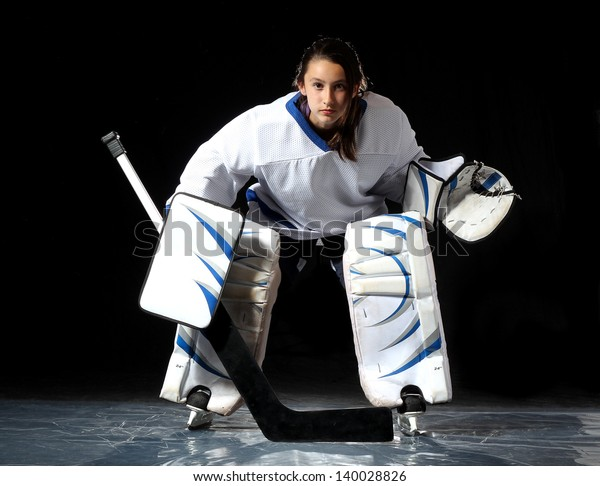 Young Hockey Goalie Poses Without Her Stock Photo Edit Now 140028826