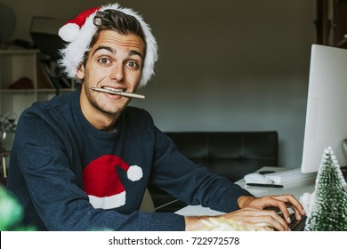 young at home or at the office working or studying at christmas