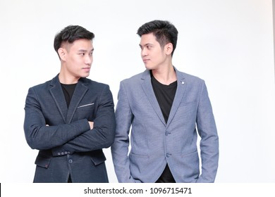 Young Homosexual Asian Male couples or male lovers looking together with love (Gay lover or Homosexual concept)