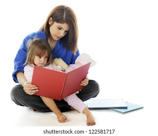 A young hospital volunteer and preschooler reading a book together.  On a white background.