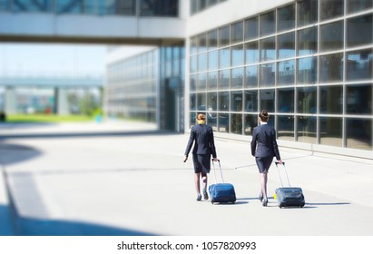 Young hostess in international airport, walking with her luggage, back view