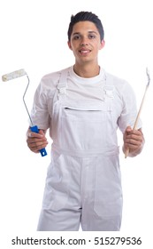 Young house painter and decorator apprentice trainee man job isolated on a white background