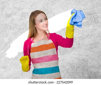 Young housewife cleaning of dust