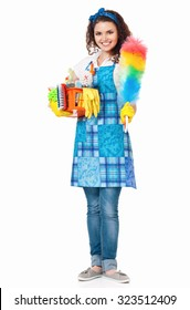Young housewife with cleaning supplies in box, isolated on white background