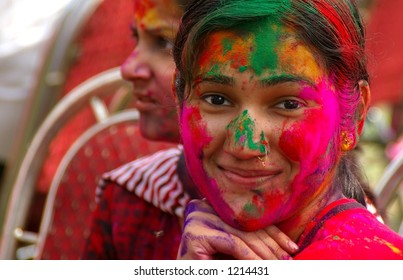 Young India Woman at Holi Festival