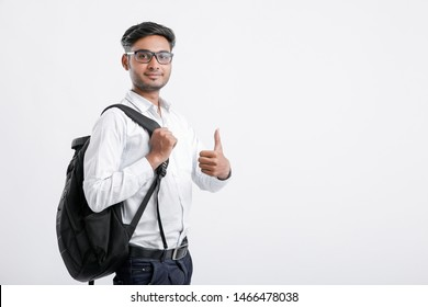 young indian college student and Showing Thumbs up