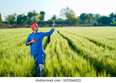 Young indian farmer at green wheat field
