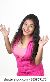 A young Indian girl posing for product shots, isolated on white