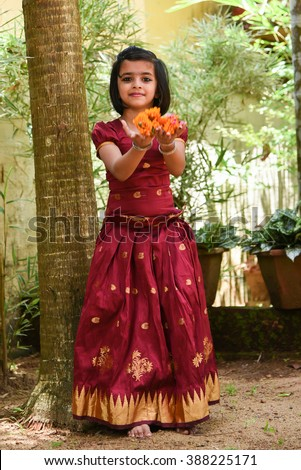 a61bca4e6 Young Indian Girl Wearing Traditional Dress Stock Photo (Edit Now ...