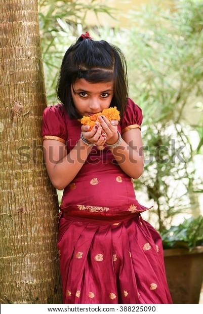 2c3affb957 young Indian girl/kids wearing traditional dress for cultural Onam, Vishu  Kerala India .
