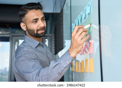 Young indian latin executive manager businessman ceo writing his strategy ideas on sticky notes on whiteboard managing professional organization business plan project presentation in corporate office.