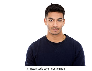 young indian man wearing dark blue sweater