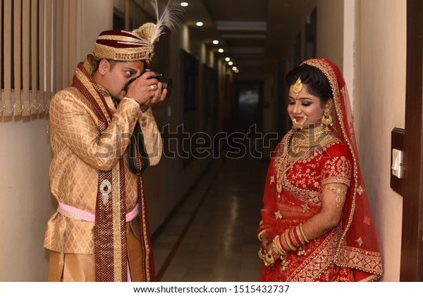 Young Indian Wedding Couple Posing Photographs Stock Photo Edit Now 1515432737