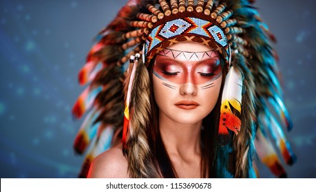 Young Indian woman with headdress and beautiful make up