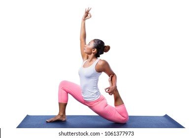 Young Indian Woman Yoga Pose White Stock Photo Edit Now 1061377973