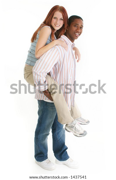 Young interracial couple; full body