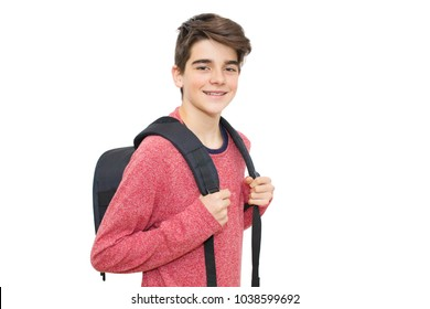 young with isolated blank backpack, teenagers