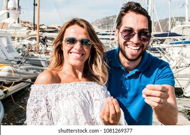 Young Italian couple gesturing. Summertime, lifestyle