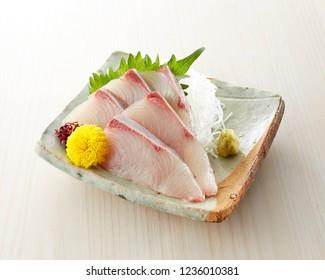 Young Japanese amberjack (Young yellowtail fish) sashimi