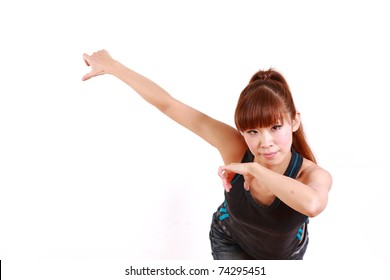young Japanese  woman dancing