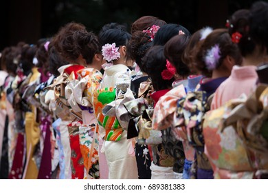 Young Japanese women wearing kimonos for the coming of age, to celebrate the year they turn twenty.