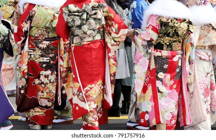 Young Japanese women wearing traditional kimono for the coming of age day celebration, they turn twenty (seijinsiki, seijinshiki) in Kagawa, Japan