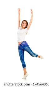 young jumping girl isolated on a white background