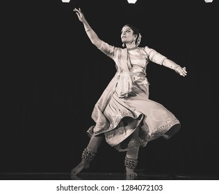 A young kathak female dancer  looks at the road ahead at the 'Nazariya' event by Natya Institute of Kathak and Choreography on January 11,2018 held at Bharatiya Vidya Bhavan hall in Bengaluru,India