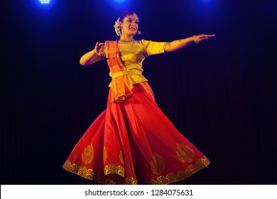 A young kathak female dancer looks mesmerised at the 'Nazariya' event by Natya Institute of Kathak and Choreography on January 11,2018 held at Bharatiya Vidya Bhavan hall in Bengaluru,India