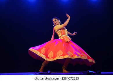 A young kathak female dancer stunned in seeing god at the 'Nazariya' event by Natya Institute of Kathak and Choreography on January 11,2018 held at Bharatiya Vidya Bhavan hall in Bengaluru,India
