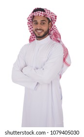 Young khaleeji man wearing shemagh and thobe standing crossed arms smiling, isolated on a white background.